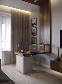 Home office interior design in calm colors using wooden panels. Дизайн интерьера домашнего кабинета в спокойных цветах с использованием деревянных панелей.