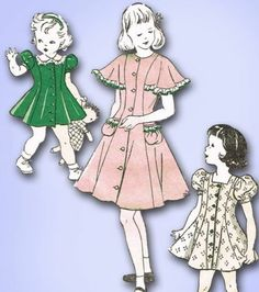 1940s Original Cute Toddlers Princess Dress with Cape Sleeves Pattern Sz 4 | eBay