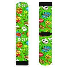 Green Comic Book Speech Bubble Socks