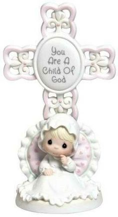 Precious Moments 4004681 045544064538 Precious Moments Baptism Gifts You Are A Child Of God Bisque Porcelain Cross Girl Precious Moments Nursery, Precious Moments Figurines, Easter Gifts For Kids, Easter Ideas, Little Blessings, Crosses Decor, Baptism Gifts, Baptism Ideas, Girl Christening