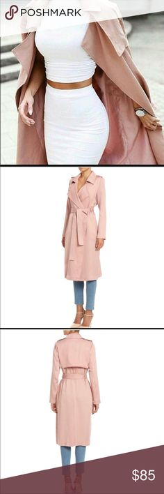 Badgley Mischka dusty pink trench Lightweight, Super soft, gorgeous trench. Runs a little big, could fit medium. This is a stunner! I just don't have anywhere fun to wear it really and I don't want this girl to die lonely in my closet! This has only been worn to try on. Badgley Mischka Jackets & Coats Trench Coats