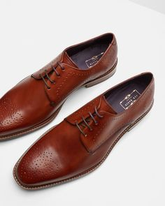 Leather derby shoes - Tan | Footwear | Ted Baker FR