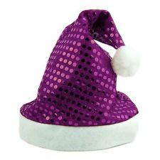 Hot Merry Christmas Party Santa Claus Hats Xmas Cap Shinning Paillette Nice  Gift Natal Roxo 04f9536e33f