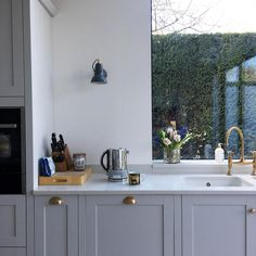 Thank you for sharing this image of your beautiful kitchen. Like Jo, add extra character to your space with a Shaker cabinet and brass combo. Beautiful Kitchens, Shaker Style Kitchens, Allendale, Kitchen Cabinets, Blue Kitchen Designs, Grey Kitchen, Kitchen Cabinet Styles, Grey Shaker Kitchen, Kitchen Renovation