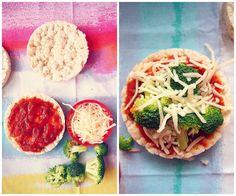 60 cal Broccoli Pizza Rice Cake    -One Tbsp Skim Mozzarella Cheese    -1/4 Cup Broccoli    -Two Tbsp Organic Pizza Sauce    -One Organic Plan No Salt Added Rice Cake