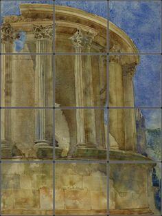 Temple of Vesta Italian Tile Mural for rustic Italian kitchen remodel idea