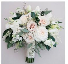 this shape, the way the greens are mixed throughout but still super clean. use the pink dinner plates, white and pink garden roses, white renunculas (if not dark center), blushing bride protea, white stock, pink astilbe