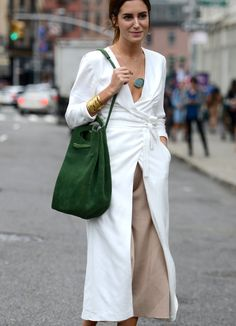 wrapped duster over culottes on the streets in New York