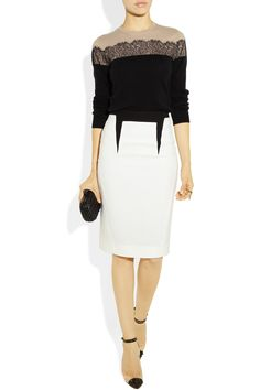 Antonio Berardi | Two-tone wool-crepe pencil skirt | Valentino | Lace-appliqued wool-blend sweater | NET-A-PORTER.COM