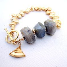Gray Labradorite Bracelet Gold Jewelry Pearl by jewelrybycarmal, $42.00