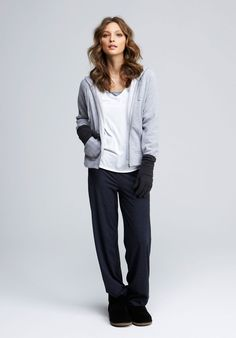 Dark Navy Marl Fold Over Trousers, Trousers & Leggings, Loungewear | hush | hush-uk.com