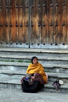 Woman From San Juan Chamula, Taking A Rest By The Doors Of The Cathedral Of San Cristóbal De Las Casas | Chiapas | México | Photo By Armando Cuéllar