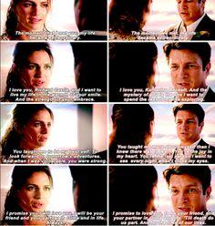 Richard Castle and Katherine Beckett exchanging vows. #Castle #Caskett #Wedding Episode 7.06