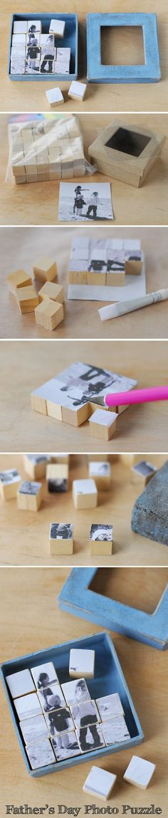 28 Creative Handmade Photo Crafts with Tutorials Photo Puzzle Blocks. These photo puzzle blocks serve as a great visual reminder of the one you love. Cool DIY gift ideas for Father's Day, Mother's Day and more. Fathers Day Photo, Fathers Day Crafts, Fathers Gifts, Fun Crafts, Diy And Crafts, Crafts For Kids, Puzzle Crafts, Baby Crafts, Wood Crafts