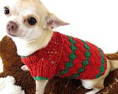 Items op Etsy die op Christmas Dog Clothes Crochet Pet Clothing Handmade Puppy Sweaters Red Green Chihuahua Costumes DK875 Myknitt - Free Shipping lijken