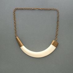 Art Deco Horn Necklace Huge Horn Set in Brass by TheDeeps on Etsy, $180.00