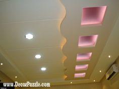Gypsum False Ceiling Design For Dining Room With LED Ceiling - Ceiling design with spot light for living room pop false ceiling