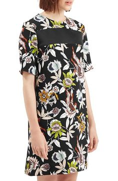 TOPSHOP Boutique 'Hatty' Floral Print Dress at Nordstrom.com. A sleek black chest panel contraststhe color-rich floral print of a short-sleeve T-shirt dress cut for a loose, flattering fit.