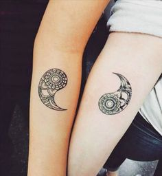 Beautiful yin and yang inspired couple tattoos. One part of the symbol is on one hand and the other is on another. When combined the yin and yang symbol will be complete.