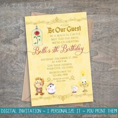 Beauty and the Beast Invitation  Birthday by TheLittlePeacockShop