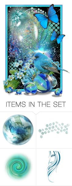 """""""My Fav Color, Turquoise, with Blue Bird"""" by judymjohnson ❤ liked on Polyvore featuring art"""