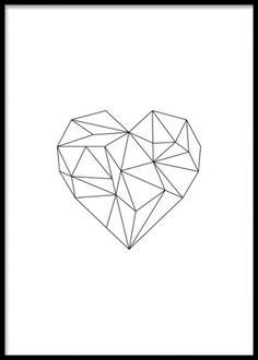 Geometric Heart, poster. Print med geometriskt hjärta i svart. Snygg tavla med ett svart hjärta i geometrisk form som passar fint till alla inredningsstilar. Matcha gärna denna poster med våra andra geometriska tavlor.