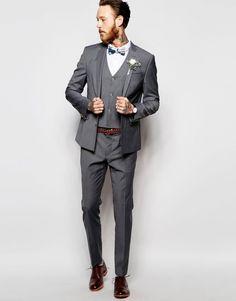 Gray Skinny Fit 3 Piece Groom's Suit