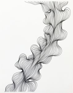 This original line drawing is hand drawn with black ink. The line work is done free handed, each individual line has its own movement based on the mood and state of mind of the artist. This is an original painting by Janna Moreau, a Colorado artist. Abstract Line Art, Abstract Drawings, Art Drawings, Drawing Designs, Pretty Drawings, Black Ink Art, Black And White Drawing, Black Pen Drawing, Parametrisches Design