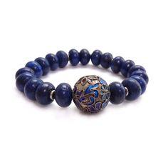 Blue Lapis Bracelet, Cloisonne Focal Bead, Semi-Precious Jewelry, Lapis Lazuli Stacking Bracelet, Statement Jewelry. $52.00, via Etsy.