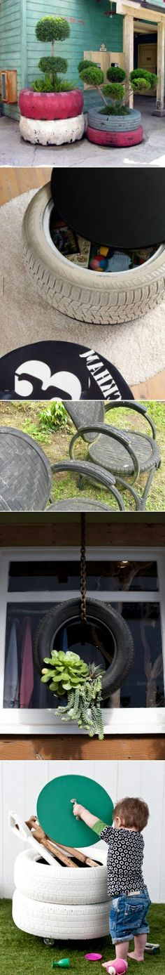 DIY Planters Made by Old Tyres