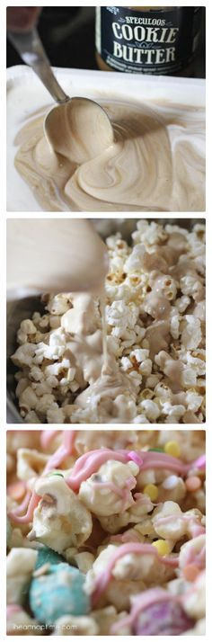 Cookie butter popcorn...super easy to make and dangerously delicious! It will be gone in minutes for added festive feel we add a bit of red and green colouring!