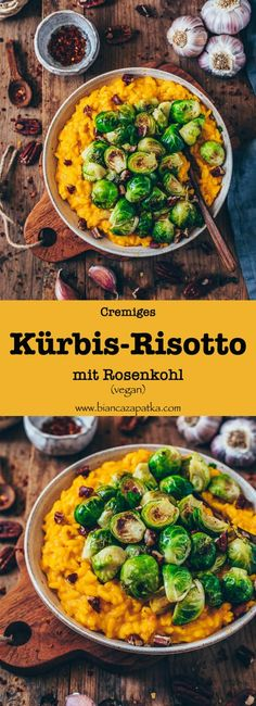 Pumpkin risotto with Brussels sprouts (vegan, gluten-free, simple) - .- creamy pumpkin risotto with Brussels sprouts and nuts, vegan Pumpkin Risotto, Healthy Snacks, Healthy Eating, Vegetarian Recipes, Healthy Recipes, Vegan Pumpkin, Pumpkin Recipes, Vegan Gluten Free, Clean Eating