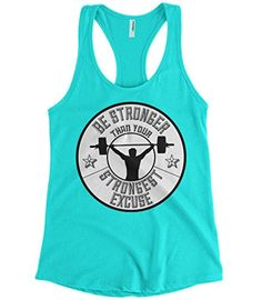 0e4a07891ff75 Buy Cybertela Women s Be Stronger Than Your Strongest Excuse Racerback Tank  Top (Light Blue