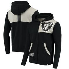 Oakland Raiders NFL Pro Line by Fanatics Branded Iconic Bold Full-Zip Hoodie – Black/Heathered Gray