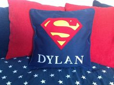 Personalised Superman childrens pillow cushion with their name, zipped piped…