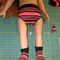 Guest post:  Peggy shows how to make a pair of doll clothes underpants using a ladies sock....a great idea for all those odd socks.