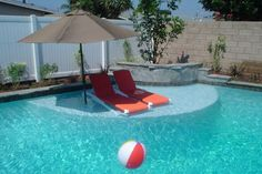Back Yard Ideas - Shallow Tanning Ledge in the Pool