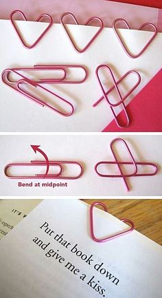 Paper clips bent into heart shapes