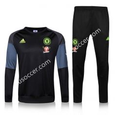 2016-17 Chelsea  Round Collar Black Soccer Tracksuit