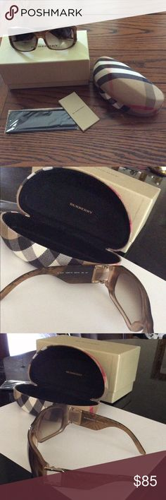 Burberry brown gradient sunglasses. New! Very cute Burberry sunglasses! Purchased in Italy. Brown gradient coloring with textured signature Burberry plaid sides. Excellent condition. Package will come with box with original tags, case, cleaning cloth that hasn't even been opened, authenticity pamphlet, and of course adorable sunglasses.  Willing to take offers! Don't be shy :) Burberry Accessories Sunglasses