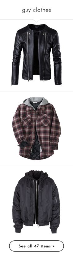"""""""guy clothes"""" by psycho-failing-at-everything ❤ liked on Polyvore featuring men's fashion, men's clothing, men's outerwear, men's jackets, jackets, men, mens biker jacket, plus size mens jackets, mens zip jacket and mens biker style jacket"""