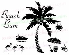 Beach Svg - Palm Tree Svg - Flamingo Svg - Digital Cutting File - Graphic Design - Vector File - Instant Download - Svg, Dxf, Jpg, Eps, Png by cardsandstitches on Etsy