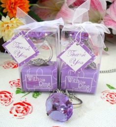 55PCS/LOT  Diamond ring Keychain (Purple color)+Wedding party favor  gift+Free shipping (Purple Color Ring) $60.00