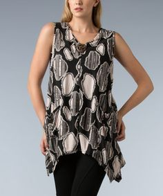 Love this Black & White Spot-Patchwork Sleeveless Tunic - Plus by Dalin on #zulily! #zulilyfinds