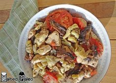 Easy Artichoke Chicken Bake 2 pounds skinless chicken breasts  2 large portabella mushrooms   2 small tomatoes  1 can artichoke hearts, quartered  1/4 cup white balsamic vinegar  1 Tbsp white pepper  1 Tbsp basil  salt, to taste  Bake at 350 degrees for 30 minutes