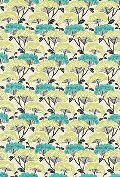 Tree Tops (222707) - Sanderson Fabrics - A Japanese inspired, bold contemporary tree print. Shown in the Teal Linden colourway. Co-ordinating wallpaper also available. Please request sample for true colour and texture.