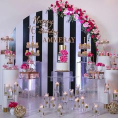 Kate Spade Inspired Sweet 16 Birthday Party Photography by Cake and Desserts by pedestal and wall… Chanel Party, Chanel Birthday Party, 40th Birthday Parties, Sweet 16 Birthday, 16th Birthday, Birthday Party Decorations, Wedding Decorations, Birthday Ideas, Birthday Makeup