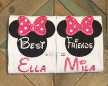 Best Friend Minnie Inspired Handcut Applique Shirt Set - Matching Set Disney Shirts