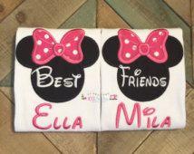 Best Friend Minnie Inspired Handcut Applique Shirt Set - Matching Set Disney Shirts