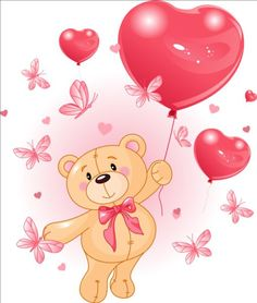 Illustration about Valentine s Teddy Bear Hanging from a heart shape Balloons. Illustration of painting, party, teddy - 17797169 Clipart Baby, Butterfly Balloons, Heart Balloons, Bebe Vector, Teddy Bear With Heart, Valentines Day Drawing, Share Pictures, Animated Gifs, Bear Images